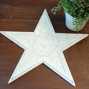 Wood framed white distressed tin star